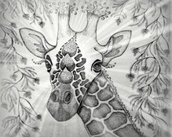 """Giraffe zen BW 18"""" x 21"""""""