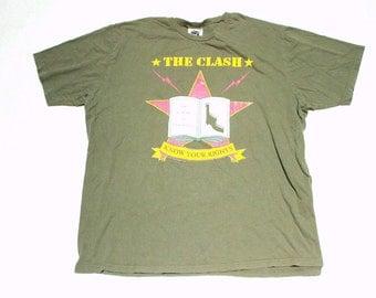 the clash know your rights punk t shirt soft cotton t shirt - size medium
