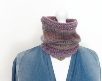 Cowl scarf, lilac knitted circle scarf, hand knit scarves, UK scarf shop.