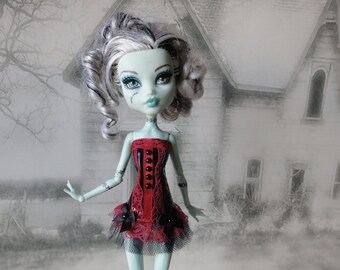 Romantic burlesque black and dark red corset hand made fits Monster High doll