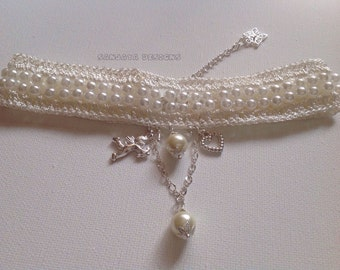 Lace and Pearl choker