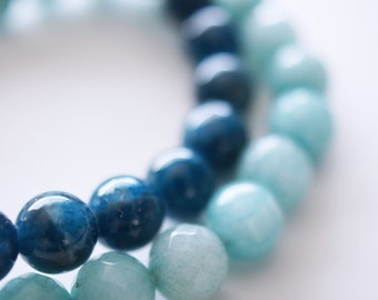 Blue Apatite AA Natural Stone Bracelet . Apatite