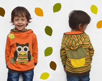 Kids fall owl hoodie,owl sweater,fall outfit,autumn leaves,toddler gift,boy toddler,girl toddler-reversible,yellow/stripes-made to order