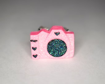Sparkly Pink Camera Ring