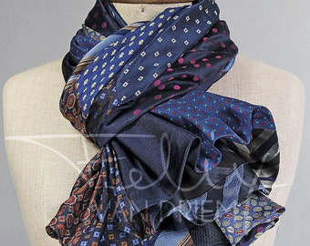 Silk trumpet scarf / shawl made of  100% silk from twelve men's ties