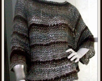 SWEATER WOMANS KNITTED  Poncho with sleeves Over sized sweater  Loose knitted  Loose fitting