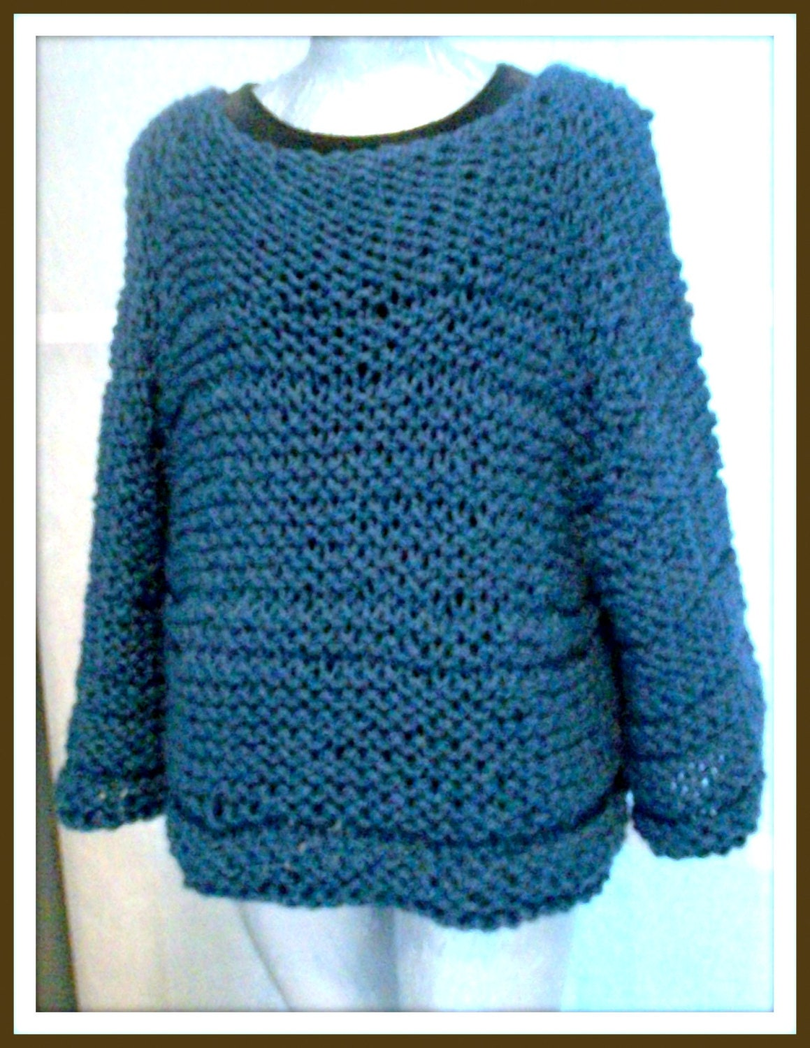 SWEATER WOMENS KNITTED Bulky Pullover Chunky Blue Loose