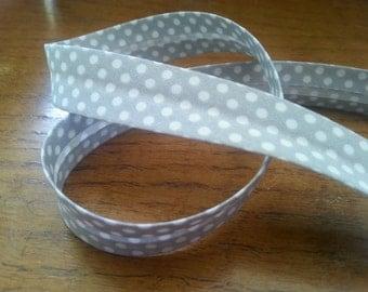 Grey and White Polka Dot Spotty Bias Binding - 18mm Bias Binding - Spot Edging - Spotty Trim - Grey White Edging - Polka Dot Bias Binding