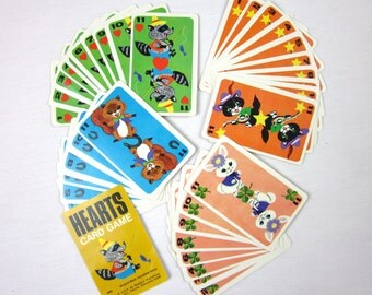 Vintage 1963 Childs Card Game, Hearts by Whitman, Black Cat, Rabbit, Raccoon