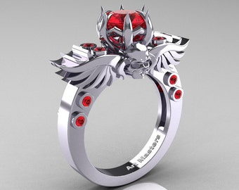 Art Masters Classic Winged Skull 10K White Gold 1.0 Ct Rubies Solitaire Engagement Ring R613-10KWGR