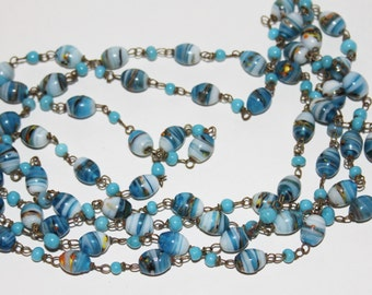 Beautiful Art Deco Italian Turquoise Blue Glass Bead Flapper Necklace (54 inches)