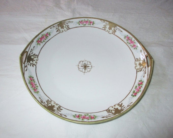 """Noritake NIPPON Hand Painted 11"""" Oval Serving Plate, Beaded Gold Trim & Flowers, Pink Roses (Antique c. 1910s)"""