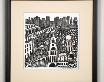 View from the Eiffel Tower limited edition linoprint