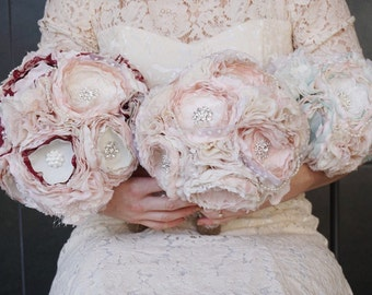 Fabric bouqhet, fabric flower bouqhet, brooch bouqhet, bride blush bouquet
