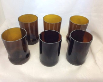 Set of 6 Glasses Brown (Recycled  Bottles)