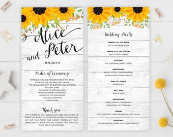 Personalized wedding programs | Rustic programs for wedding with sunflowers | PRINTED wedding program
