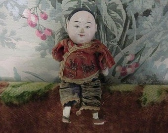 SALE!! Antique Chinese Composition Boy Doll in Silk Embroidery Costume