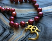 Gold Ohm and Freshwater Pearl Silk Knotted Necklace