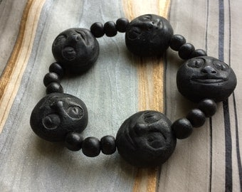 Spooky Halloween Black Moon Face Bracelet