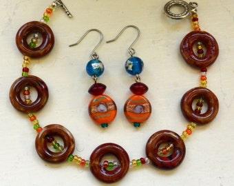 Bracelet & Earrings Set - Beads, Orange Yellow Brown Blue Shades - Vintage - Beautiful!