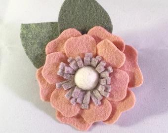 Single Flower Wool Blend Flower Hair Clip