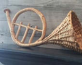Vintage Wicker Horn - Wicker Trumpet - Wicker French Horn - Music Room - Orchestra Decor - Music Decor - French Horn - Musical Instrument