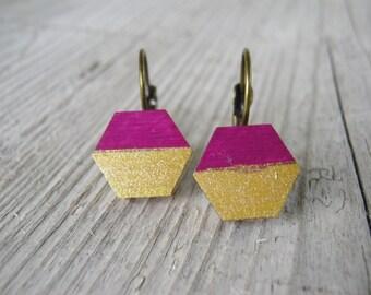 Earrings, lilac & gold, wood, flieder, gold