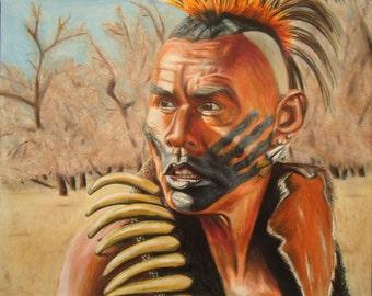 Native American art -  Original pencil portrait - Dances with Wolves - Indian art - Rustic decor - Wall decor - Original Art - Wall decor