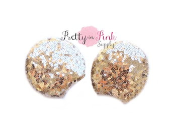 "SEQUIN Light Gold 3"" Minnie Mouse EARS Mickey DIY-Minnie Ears-Diy Kit Supply- Use for Headband or  Hair clips Kit-Baby Headband-Mickey Mouse"