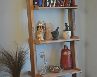 Ladder bookshelf, with weathered stain