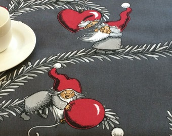 Christmas tablecloth grey white red with gnomes and red hearts square table cloth winter holiday home decor