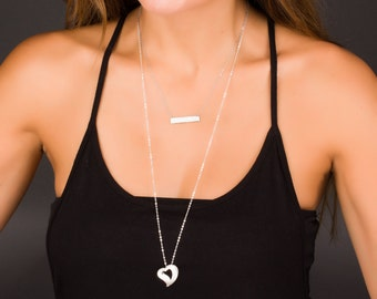 Long Necklace Silver, Silver Heart Necklace, Sterling Silver Long Necklace, Dainty Layered Necklace, Love Necklace,    0239NM