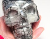 Picasso Jasper Crystal Skull Giant Sized Hand Carved 4 1/4 inches long! Increase Trust, Nurturing Energies!