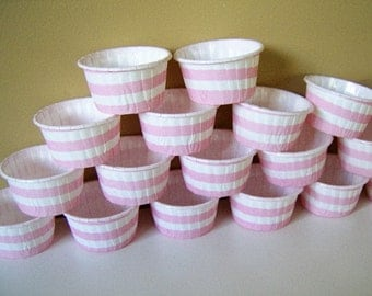 SALE - 23 Mini candy/bake cups - 3oz mini striped paper cups - mini cupcake/muffin cups - pink mini bake cups - mini candy cups