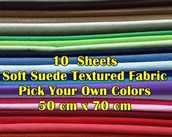 Soft Suede Textured Fabric - It Felt Like Fabric- Alternative Felt Fabric - 10 Sheets 50 cm x 70 cm