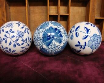 Blue Porcelain Decorative Balls (3)