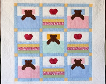 Quilt, Baby, Cotton Fabric, 33 x 33 inches, multi-color, Applique and pieced, Home made in my smoke free home.