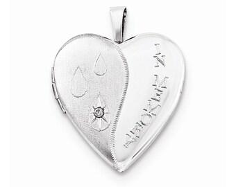 Sterling Silver 20mm Diamond Satin/Polish In Memory Heart Locket