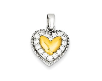Sterling Silver and Gold Plating CZ Heart Pendant