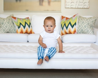 Blue Gingham Baby Leg Warmers