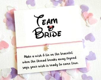 Team Bride Wedding Wish Card String Star Charm Bracelet Hen Party Bachelorette Favors