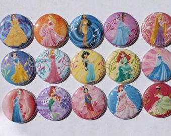 Disney's Princesses 1 inch flat back, pin backs, hollow back, bottle caps, scrapbooking, crafts, bow centers- set of 15   C79