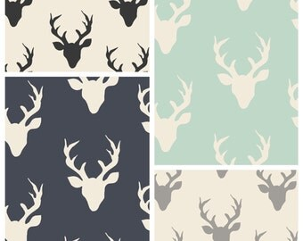 Duvet Cover DEER grey navy black Mint white cotton fabric Bedding - Country Bedroom - Choose size Crib Toddler Twin Queen King - Buck Forest