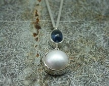 Hand made mabe pearl  and cabochon sapphire necklace, Pearl and sapphire necklace, Mabe pearl necklace . Wedding necklace