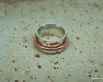 Hand made silver concave ring with copper band . Wedding band. Copper and silver ring. Wide silver ring with copper detail. Silver ring