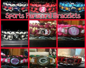 Sports nfl nba ncaa mlb nhl Paracord Bracelet - FREE SHIPPING