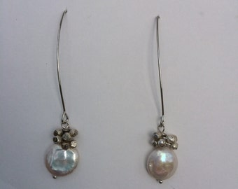 Freshwater Coin Pearl and Silver Bead Earrings