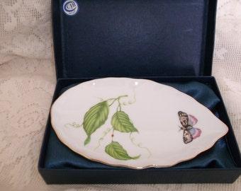 I. Godinger Porcelain Leaf Dish Jardin 5 Inch Boxed