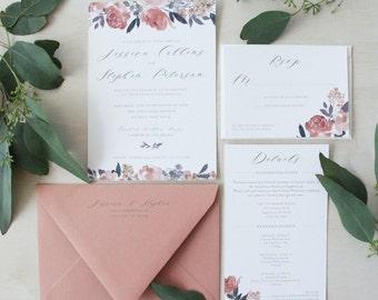 Heirloom Peonies Wedding Invitation Suite | Custom Wedding Invitation | Watercolor Wedding Invitation | Wedding Invitations | Floral Wedding