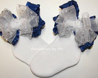 Glitzy Bow Socks, Navy Blue Trim Socks, Baby Girls Navy Ruffle Socks, Infant Toddler Frilly Socks, Dressy Pageant Socks, Custom Party Socks